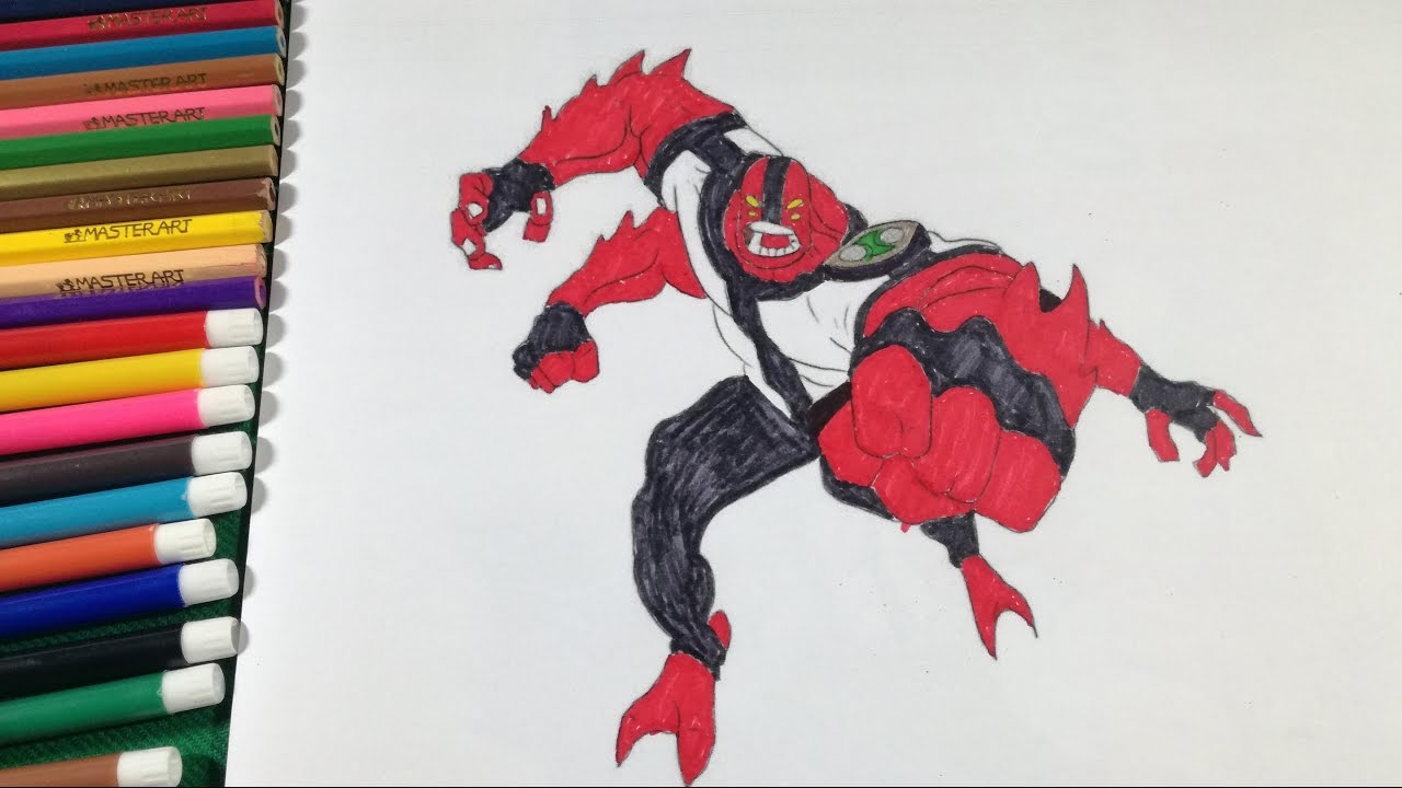 coloring fourarms ben 10 coloring book how to color fourarms