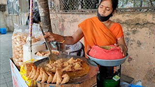 Mumbai Lady Selling Samosa Chaat To Support Her Family | Indian Street Food