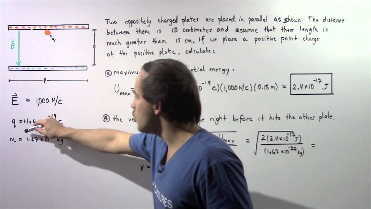 Electric Potential Energy Example Youtube