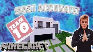 MOST ACCURATE TEAM 10 House in MINECRAFT! (HUGE) (Working Cars + Doors) HOUSE TOUR + DOWNLOAD