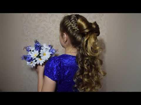 Бант из волос детская прическа на выпускной