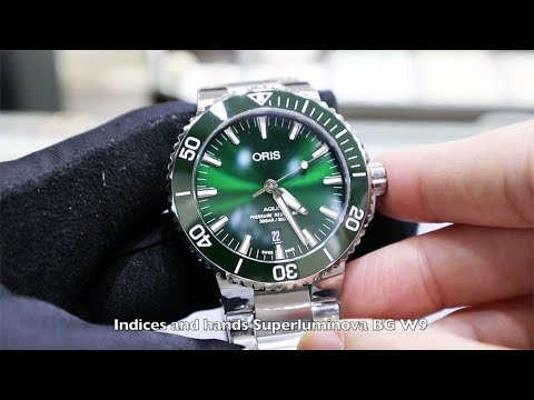f505299186b UNBOXING NEW ORIS AQUIS DATE GREEN DIAL 01 733 7730 4157 - YouTube