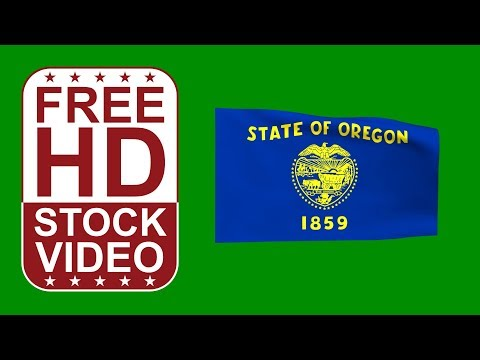 FREE HD video backgrounds – USA Oregon State flag waving on green screen 3D animation