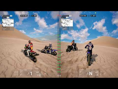 Dakar 18  | 1p vs 1p moto race split-screen | Get the shovels!