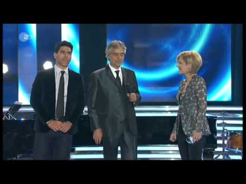 Andrea Bocelli & his son Amos on piano  Love Me Tender   on German TV, April 13, 2013