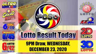 3d Lotto Result Today Wednesday December 23 2020 Official Pcso Lotto Result