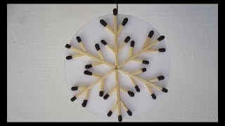 Matchstick snowflake christmas decoration craft.