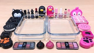 black-vs-pink-mixing-makeup-eyeshadow-into-clear-slime-special-series-27-satisfying-slime-video