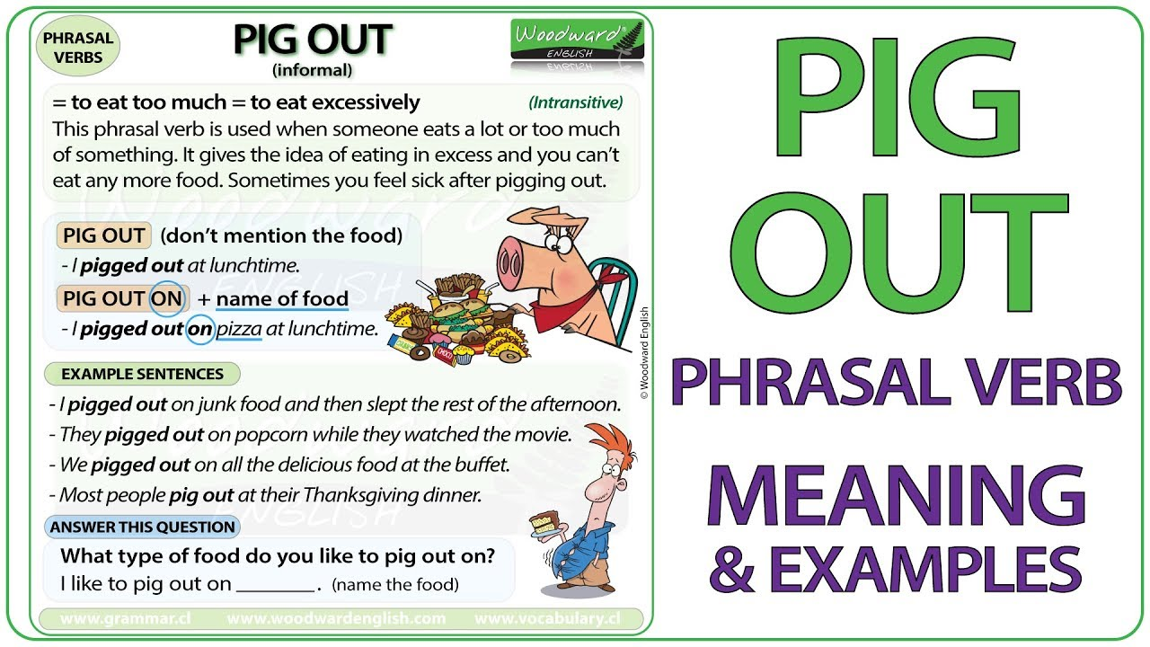 PIG OUT - Phrasal verb Meaning and Examples - YouTube
