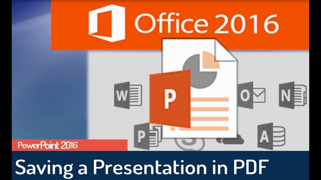 Powerpoint 2016 Tutorial Saving The Presentation In Pdf Format