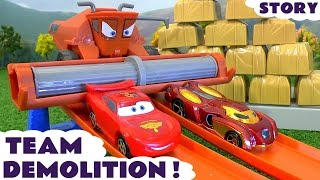 Disney Cars Toys Frank & Avengers Captain America Hot Wheels Wall Demolition Competition Family Fun