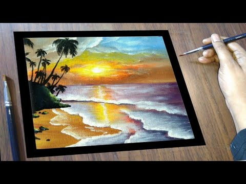 How to Paint for Wall Decor, Sunset Landscape Painting – Easy Acrylic Painting – Canvas Painting