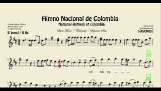 National Anthem of Colombia Sheet Music for Tenor Sax Soprano Sax and Clarinet in B flat