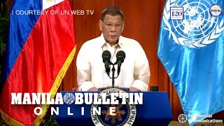 President rodrigo duterte speaks at the united nations(un) general assembly. he is expected to discuss urgent issues on covid-19 response, human rights c...