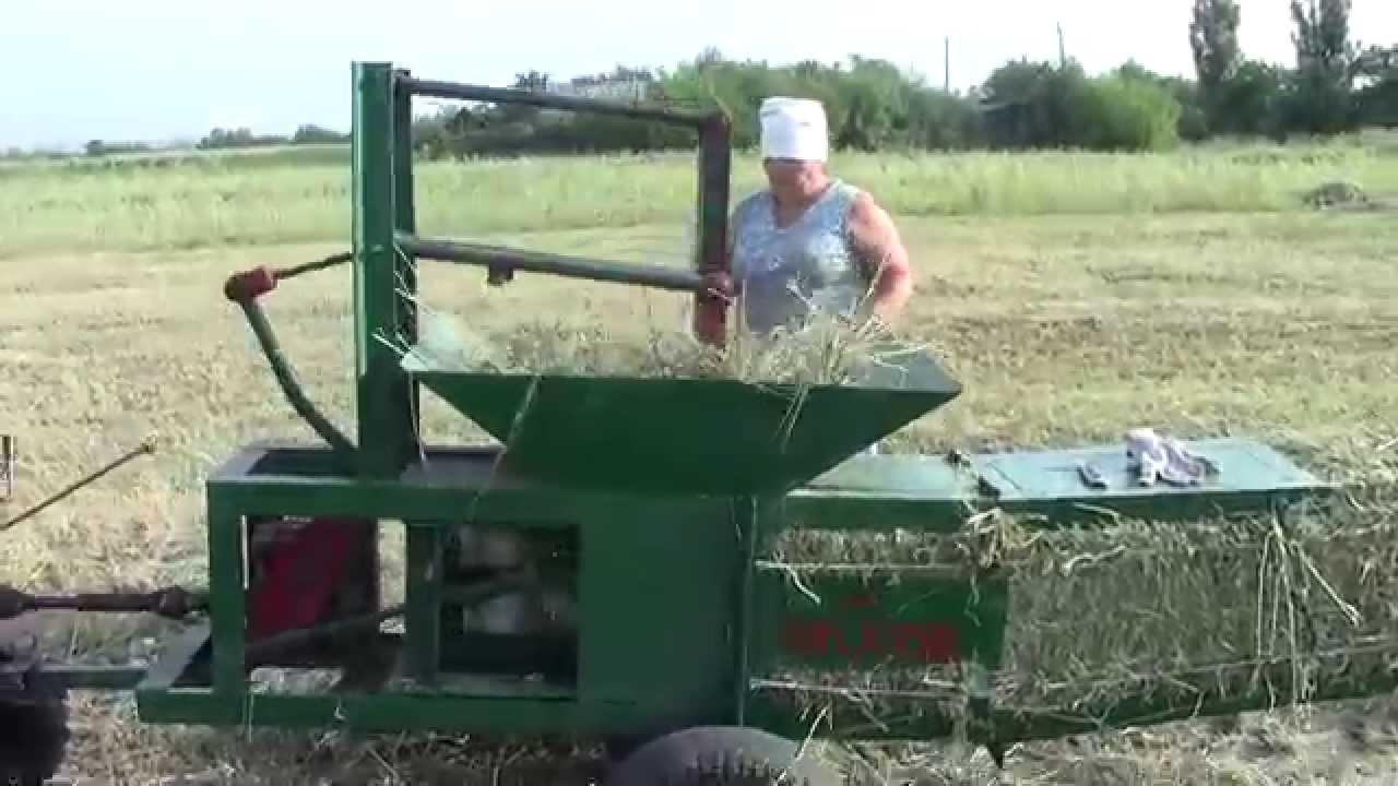 Самодельный пресс для сена к мотоблоку.Handmade Hay Baler for hay .