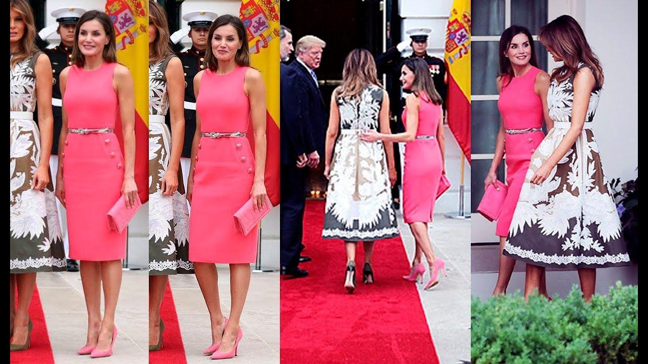 REINA LETIZIA ORTIZ estrena vestido rosa entallado con unos botones ...