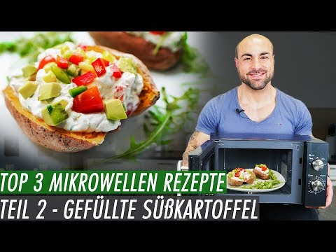 10min Fitness Rezept Aus Der Mikrowelle - Gefüllte Süßkartoffel Mit Gemüse-Quark