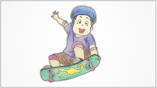 How to draw a boy on skateboard step by step