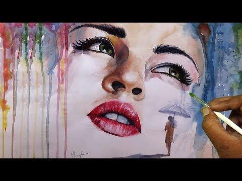 Beautiful Girl Watercolor Portrait Painting