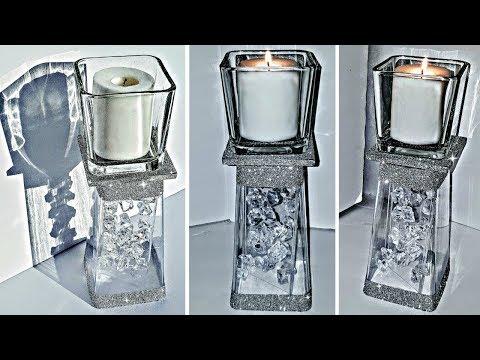 DIY Dollar Tree Glam Candle Holder with Floating Acrylic GEMS