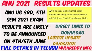 ANU UG 3rd, 5th Sem 2021 Exam Results are likely to be announced on 4th/5th June//ANU Results Update