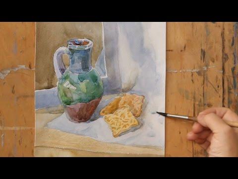Видео-урок рисования акварелью. Растяжка тона в простом