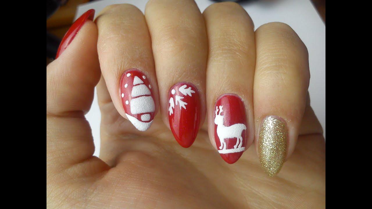 Swiateczne Zdobienia Christmas Nails Sugar Effect Youtube