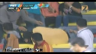 Fan falls on his face trying to catch ball at Morelia-Pumas match!