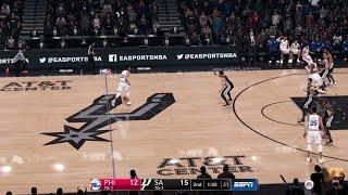 NBA LIVE 19 NEW PATCH 1.17! Philadelphia 76ers vs San Antonio Spurs - CPU SIM PS4 PRO - HD