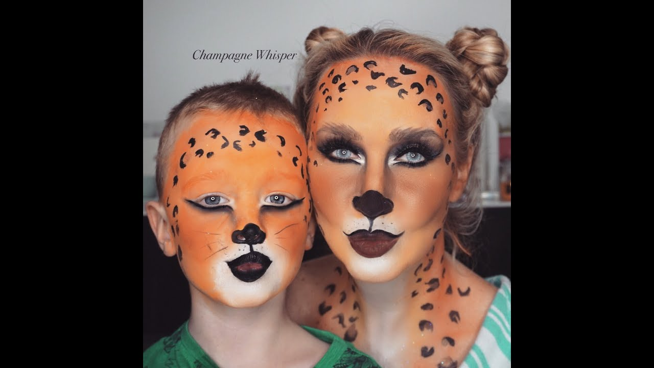 leopard halloween fancy dress face paint tutorial kids or adults youtube