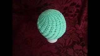 Шапочка под кардиган крючком (для начинающих)/Crochet hat.