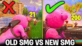 NEW SMG VS OLD SMG COMPARISON IN FORTNITE SEASON 5 (NEW SMG GAMEPLAY FORTNITE BATTLE ROYALE)