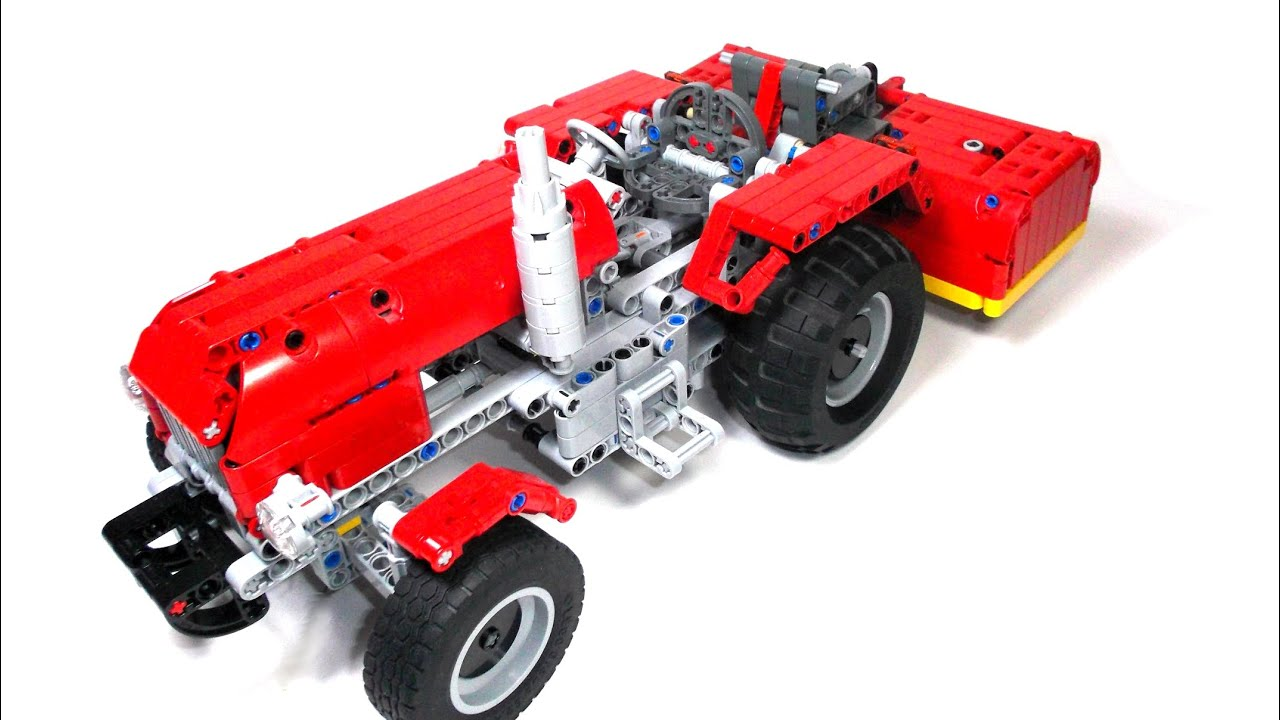 Lego Technic Tractor With Lawn Mower Youtube