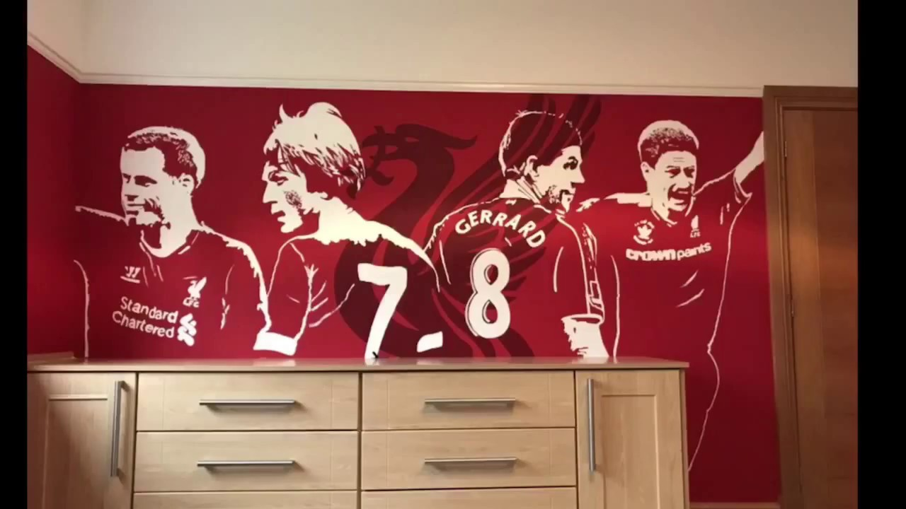 exciting football theme bedroom lfc room idea   Liverpool FC Bedroom Mural (Timelapse and Reaction) - YouTube
