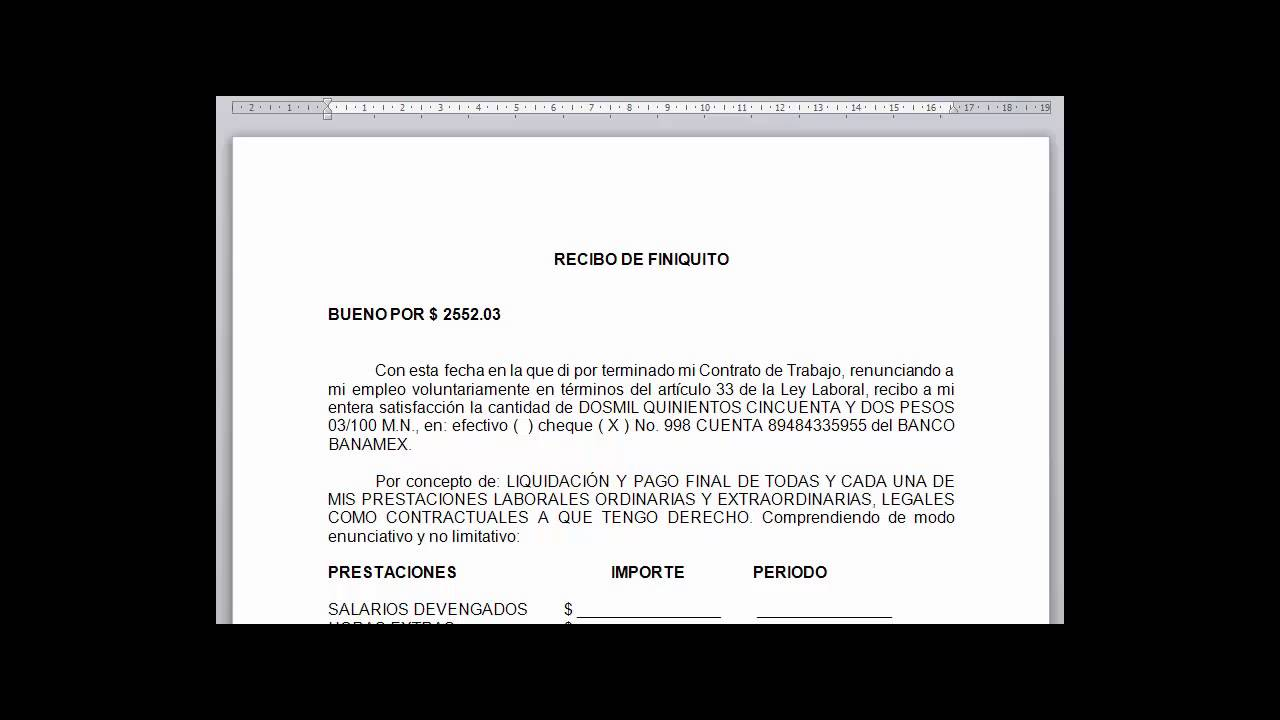 Formato legal de carta de renuncia y recibo de pago de finiquito ...