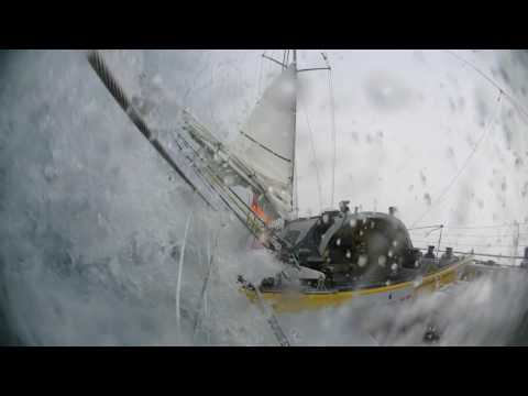 Yacht Knocked down during solo circumnavigation.