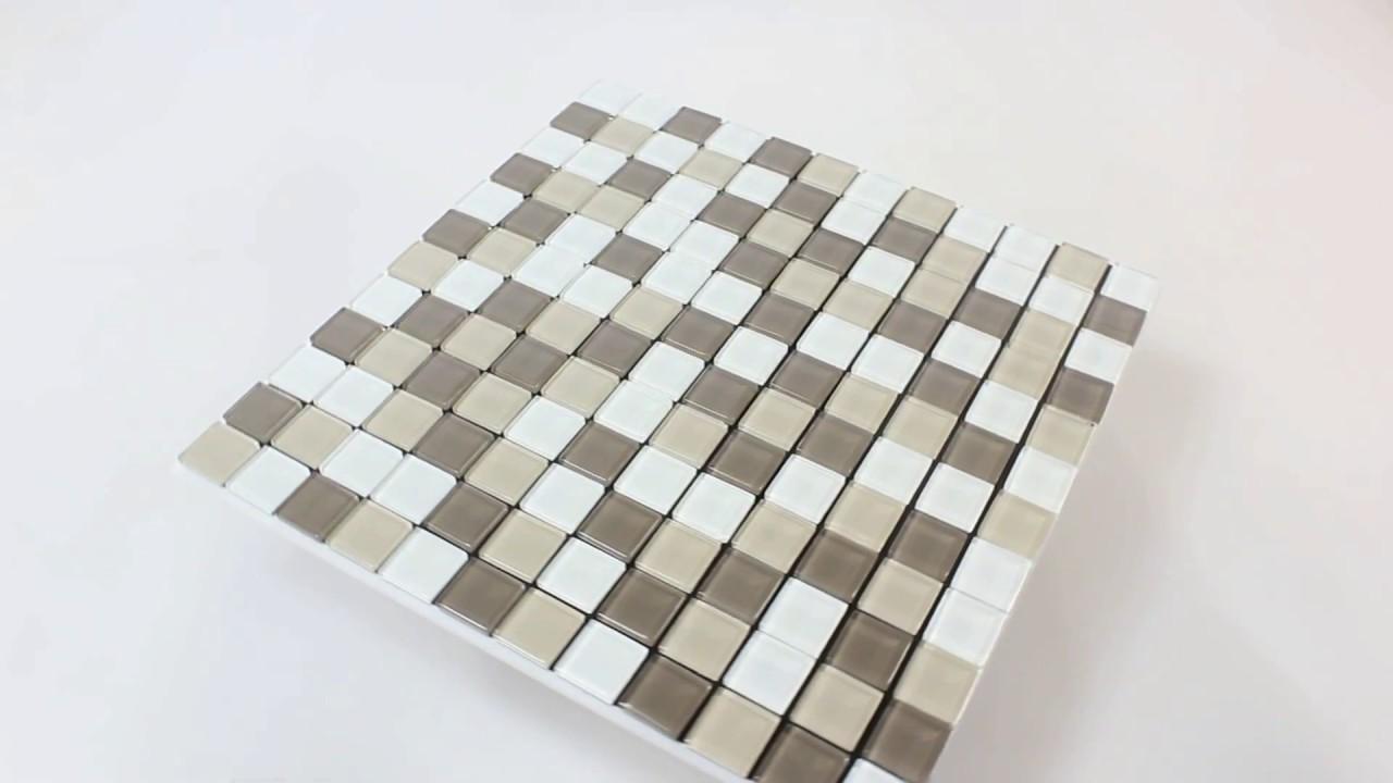 Mosaikmatte Selbstklebend Glas Benedict Beige Braun Bad Wohnzimmer Fliesen