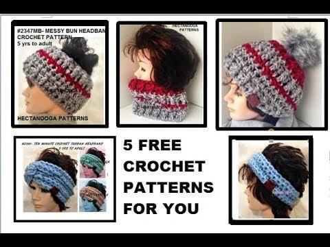 5 FREE CROCHET PATTERNS FOR YOU, Hat, cowl, headband, turban headband