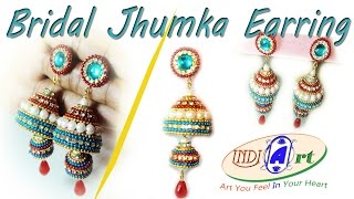 how to make jhumkas at home | quilling art | make easy | INDI ART | #4