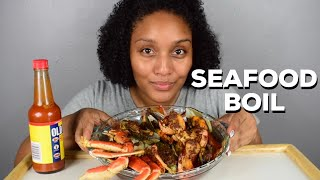 Seafood Boil Mukbang and Trying Old Bay Hot Sauce For the First Time