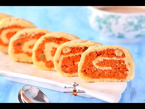 Gajar Ka Halwa Swiss Roll | Carrot Halwa Roulade | Carrot Pudding Mawa Roll