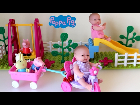Baby Dolls Peppa Pig Construciton Set Playground Swing and Slide