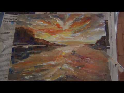 How to paint sunset Seascapes and cloud reflection in Acrylic color