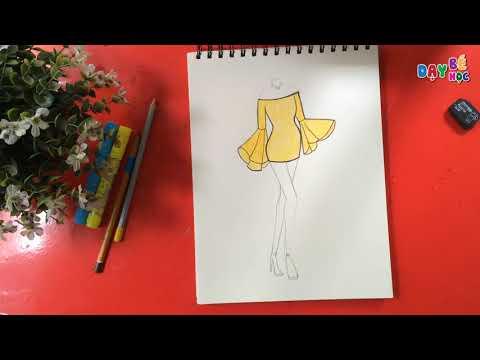 Tập thiết kế thời trang | Cách vẽ áo váy phong cách | Dạy bé học
