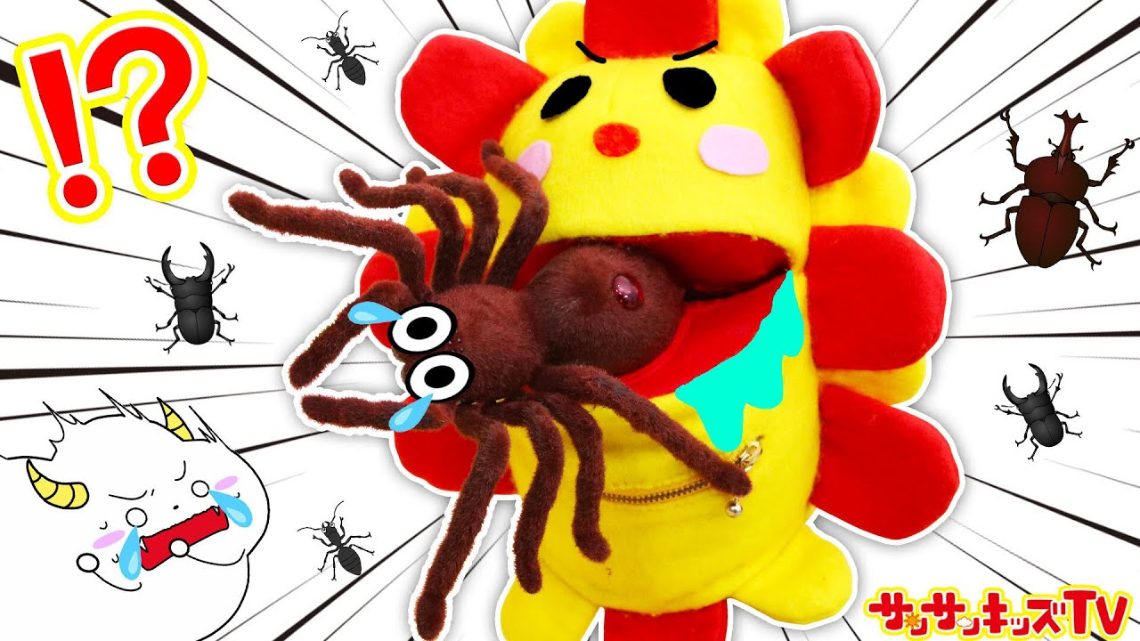 大変!巨大クモを食べちゃった!?昆虫とサンサンを助けなきゃ!よい生活習慣の寸劇・子供向け知育教育★サンサンキッズTV★