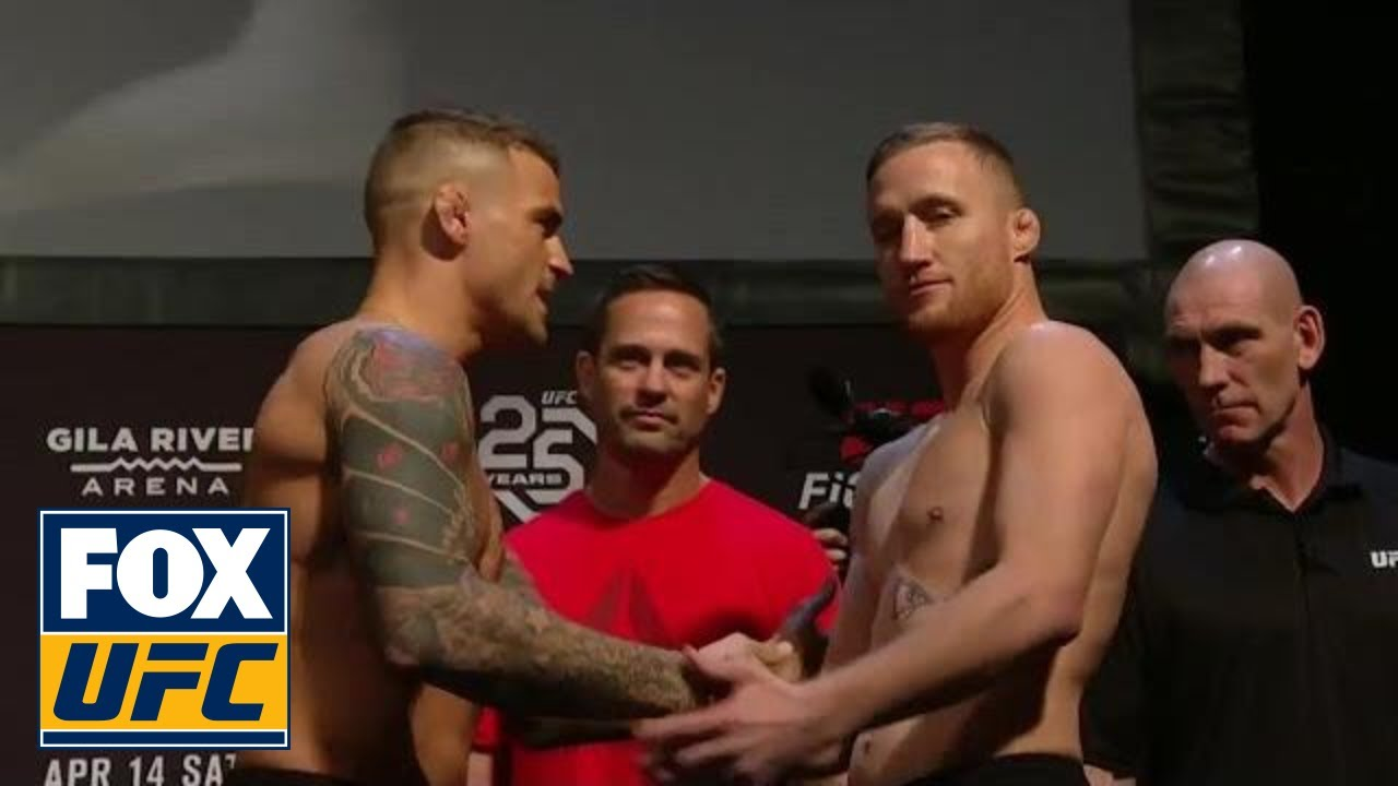 Justin Gaethje vs Dustin Poirier face-off | WEIGH-IN | UFC ...