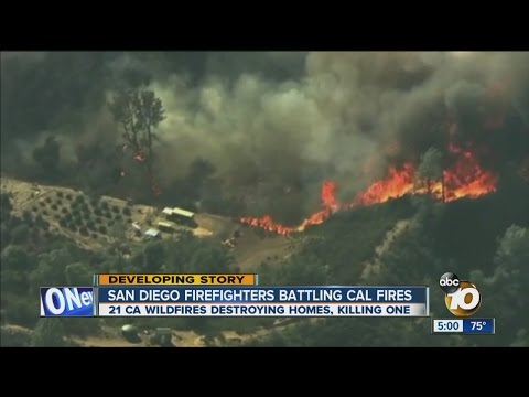 San Diego firefighters battling northern California wildfires