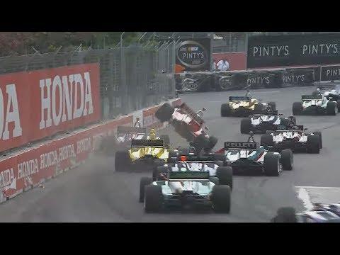 Indy Lights 2017. Race 2 Grand Prix of Toronto. Start Big Crash