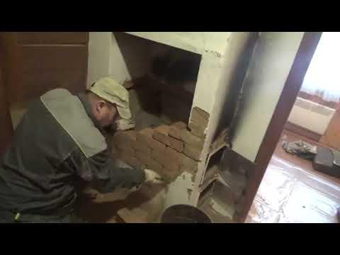 Ремонт и реставрация  старой печки.Обкладка терракотовой плиткой.