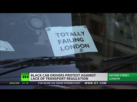Black Cabs Block Central London Protesting Uber Regulation